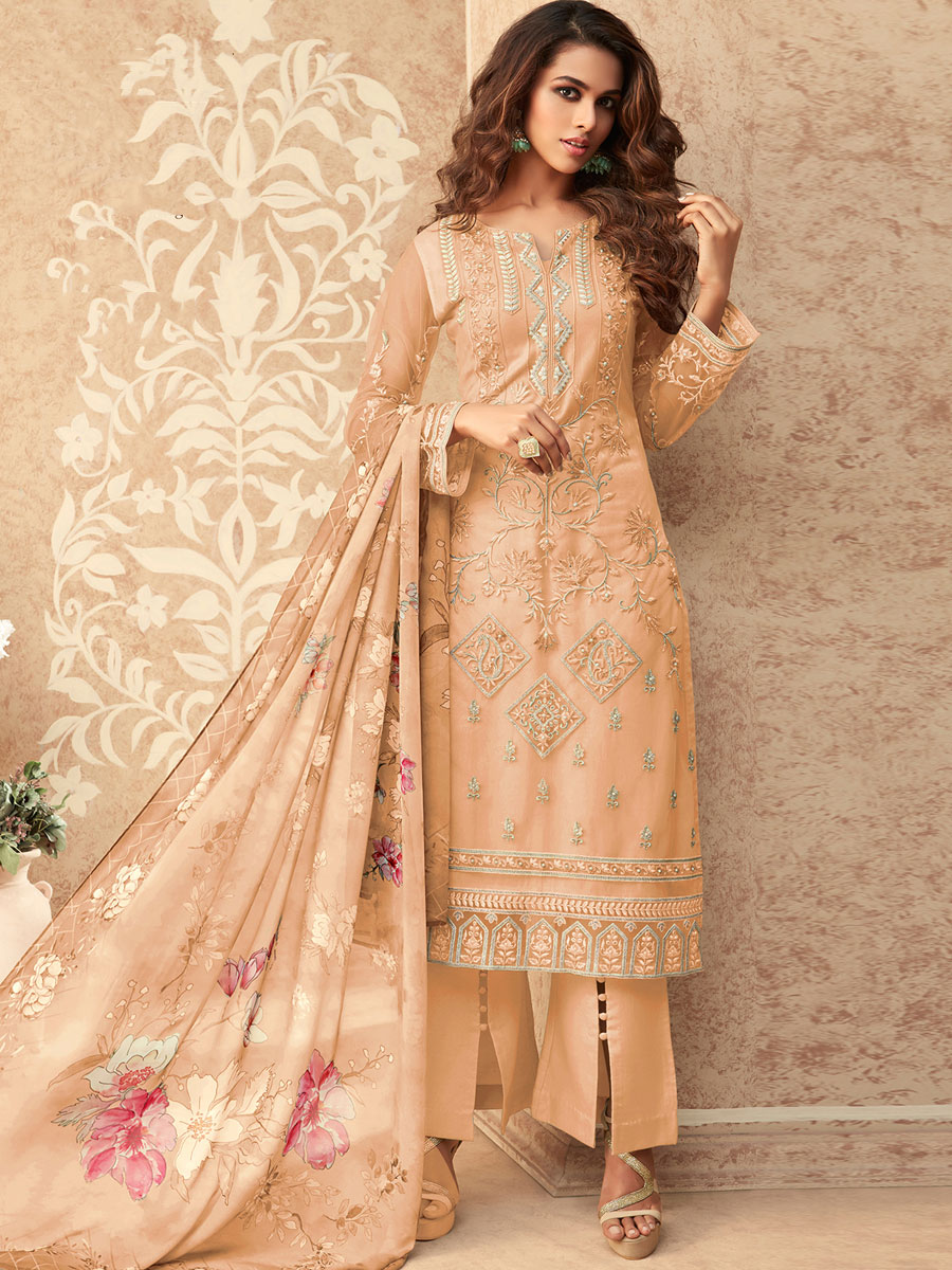 Peach-Orange Net Embroidered Party Pant Kameez