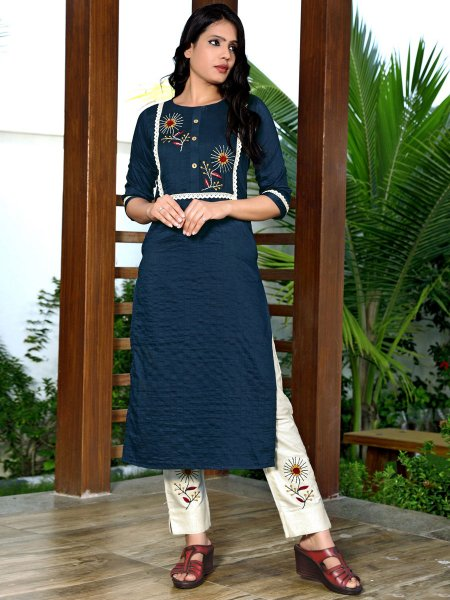 Navy Blue Silk Embroidered Party Kurti