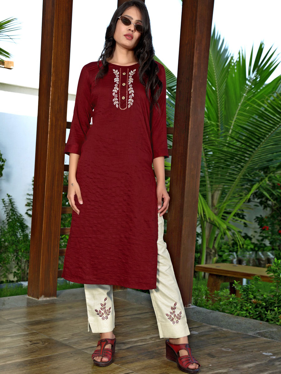 Maroon Silk Embroidered Party Kurti
