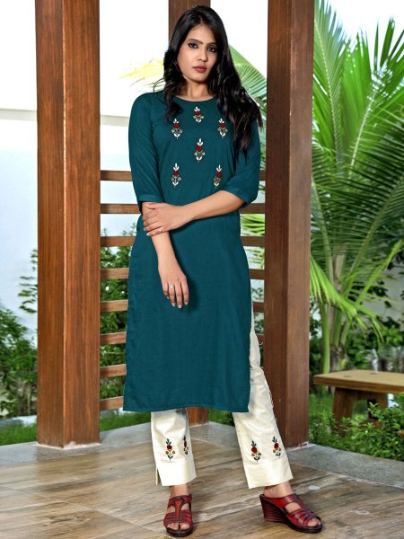 Teal Green Silk Embroidered Party Kurti
