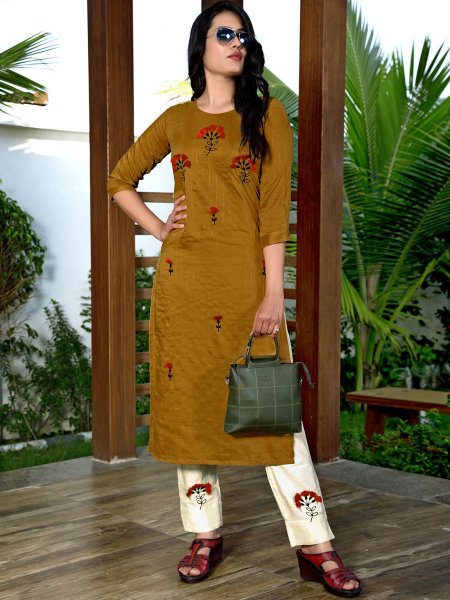Dark Goldenrod Yellow Silk Embroidered Party Kurti