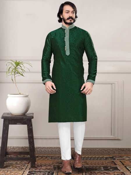 Hunter Green Jacquard Handwoven Festival Kurta