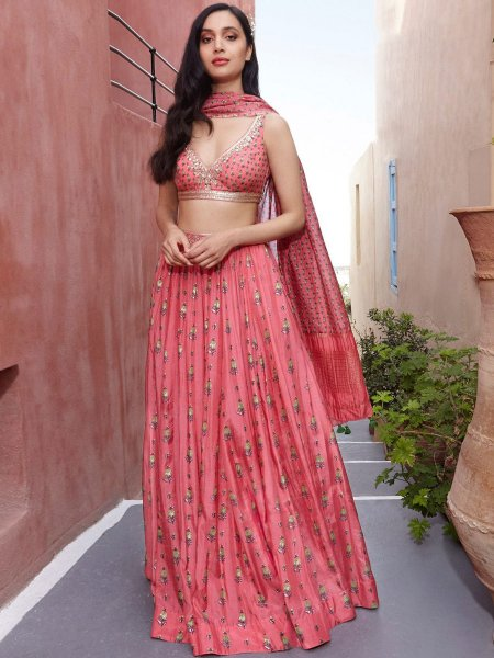 Brink Pink Silk Embroidered Party Lehenga Choli