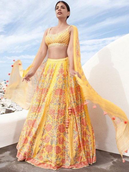 Maize Yellow Silk Embroidered Party Lehenga Choli