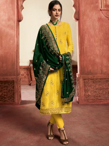 Saffron Yellow Jacquard Silk Embroidered Party Pant Kameez