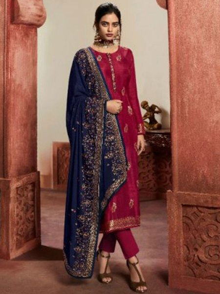 Maroon Jacquard Silk Embroidered Party Pant Kameez