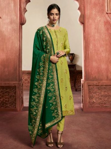 Parrot Green Jacquard Silk Embroidered Party Pant Kameez