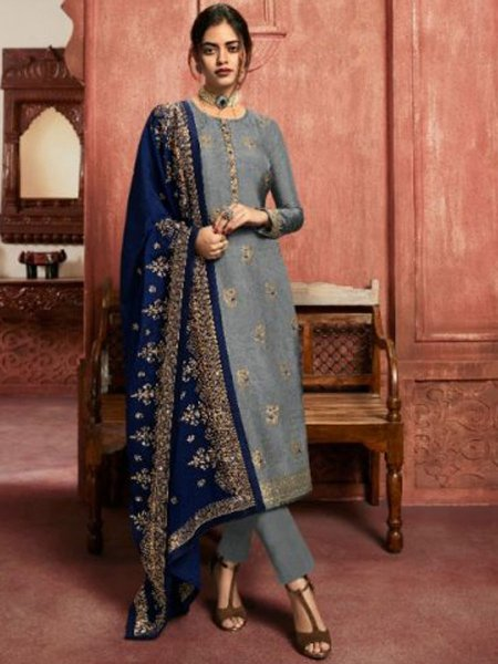 Gray Jacquard Silk Embroidered Party Pant Kameez