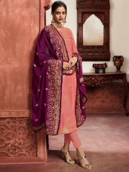 Coral Pink Jacquard Silk Embroidered Party Pant Kameez