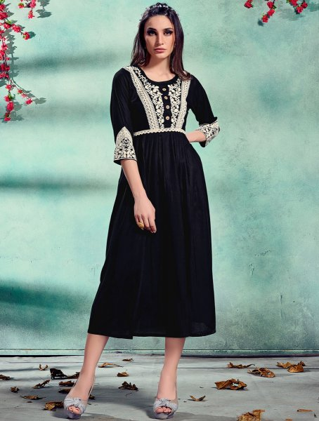 Black Rayon Embroidered Festival Kurti