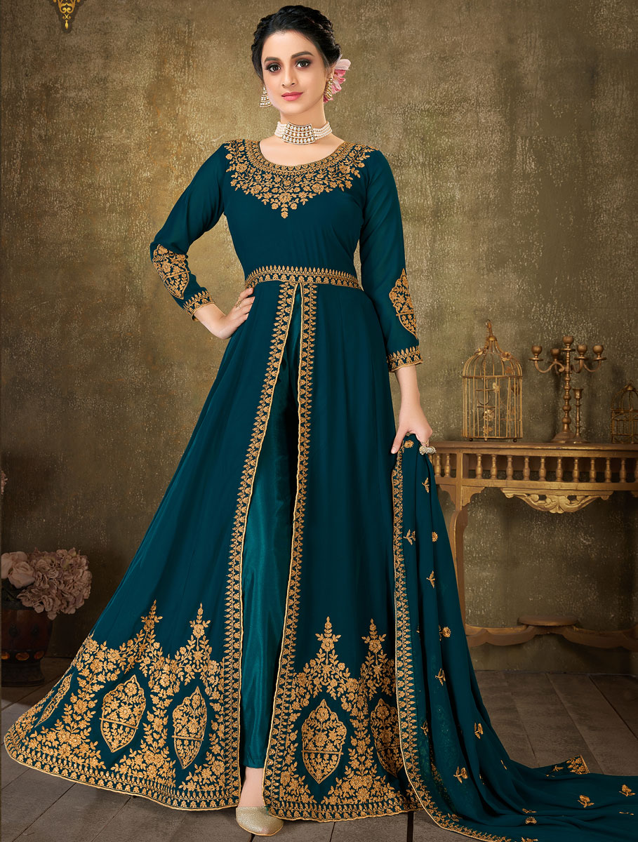 Prussian Blue Faux Georgette Embroidered Festival Lawn Kameez