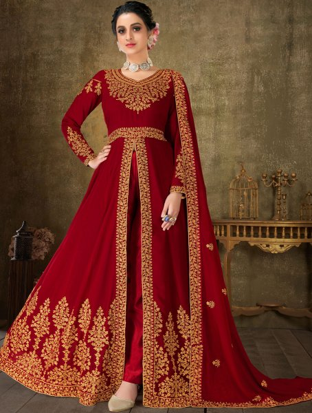 Maroon Faux Georgette Embroidered Festival Lawn Kameez