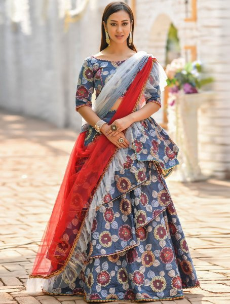 Cornflower Blue Jacquard Printed Party Lehenga Choli