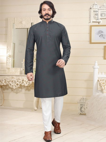 Dark Gray Cotton Printed Casual Kurta