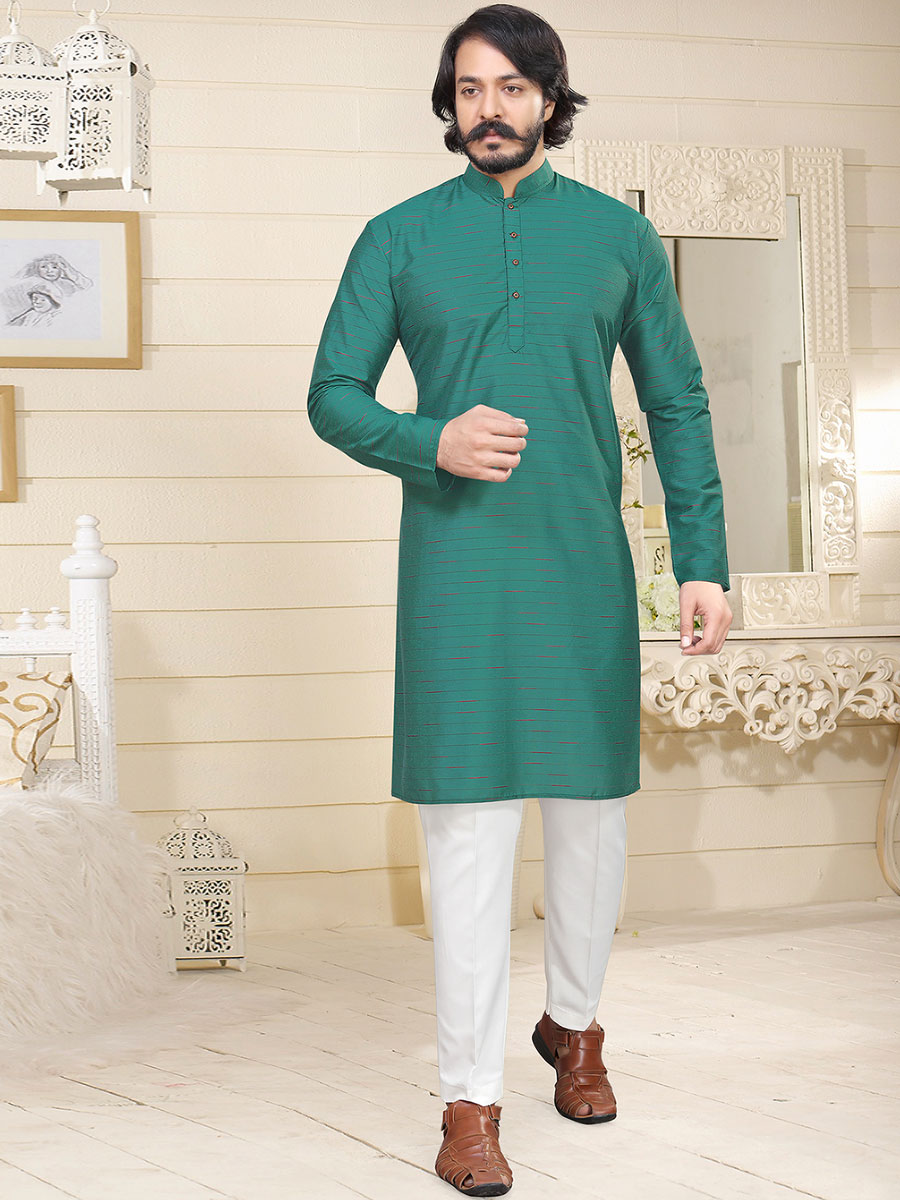 Jungle Green Cotton Printed Casual Kurta