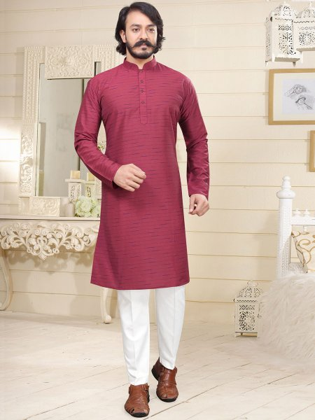 Dark Pink Cotton Printed Casual Kurta