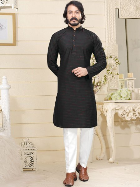 Black Cotton Printed Casual Kurta
