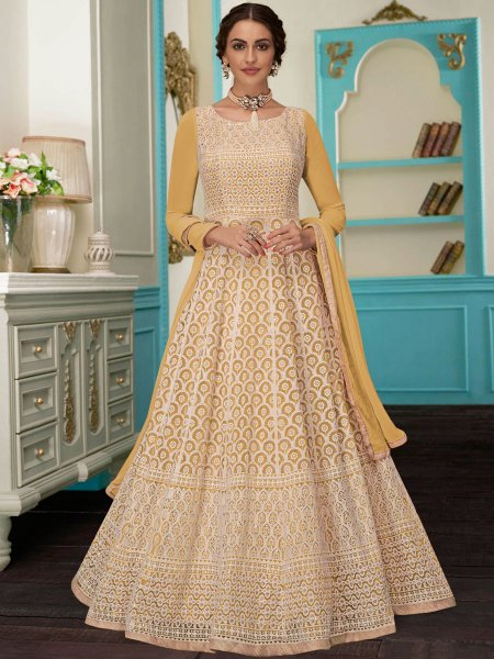 Golden Yellow Faux Georgette Embroidered Party Lawn Kameez