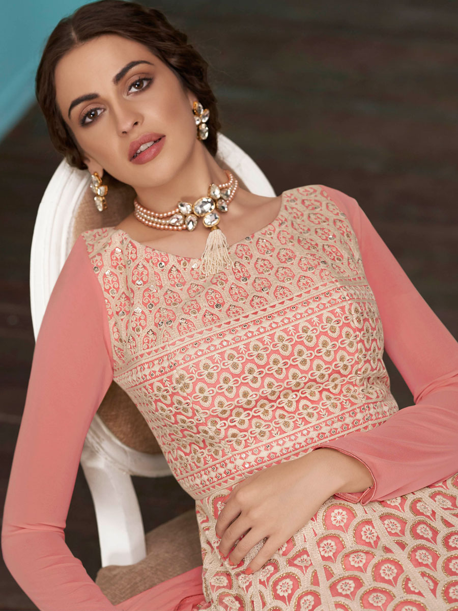 Light Pink Faux Georgette Embroidered Party Lawn Kameez