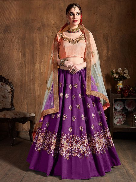 Purple Raw Silk Embroidered Wedding Lehenga Choli