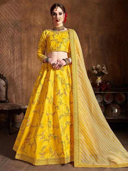 Maize Yellow Silk Embroidered Wedding Lehenga Choli
