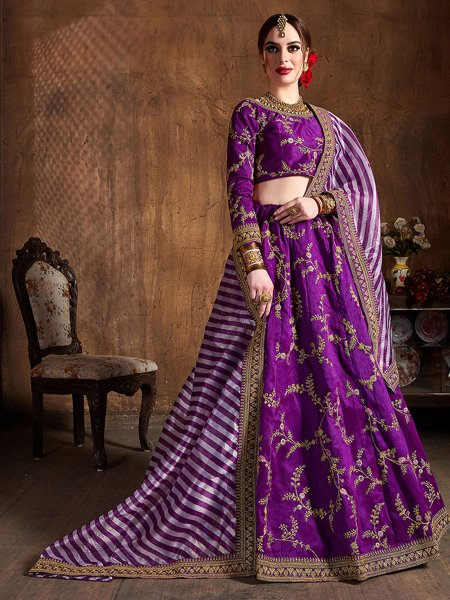 Purple Silk Embroidered Wedding Lehenga Choli