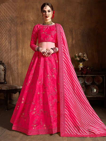 Cerise Pink Silk Embroidered Wedding Lehenga Choli