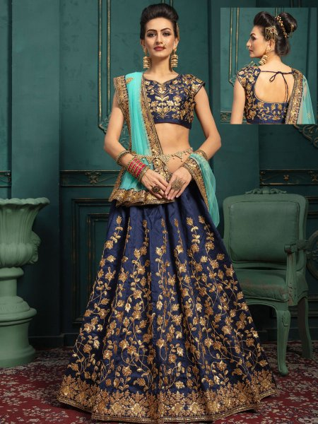 Navy Blue Silk Embroidered Wedding Lehenga Choli