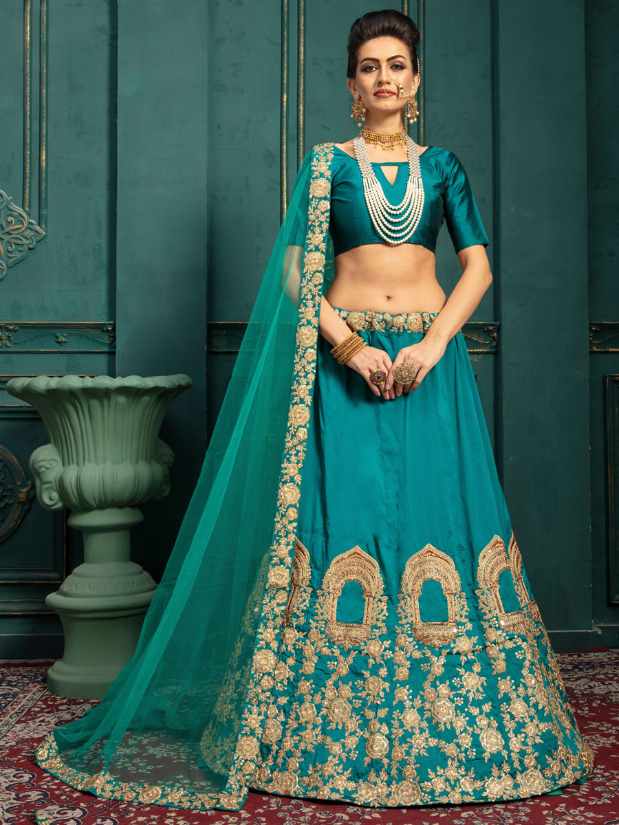 Pine Green Silk Embroidered Wedding Lehenga Choli