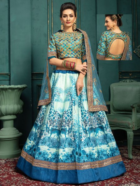White and Sky Blue Silk Embroidered Wedding Lehenga Choli