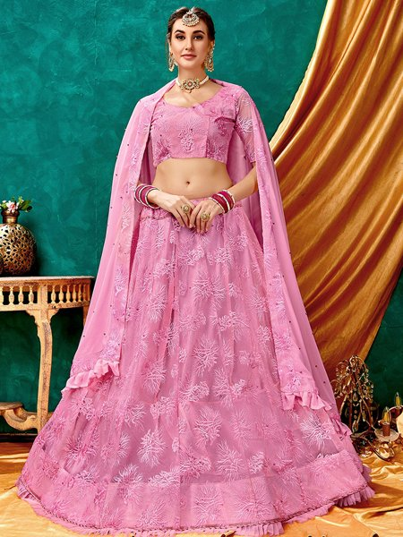 Salmon Pink Net Embroidered Wedding Lehenga Choli