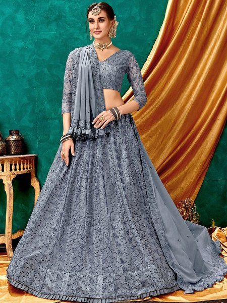 Grey Net Embroidered Wedding Lehenga Choli