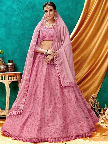 Persian Pink Net Embroidered Wedding Lehenga Choli