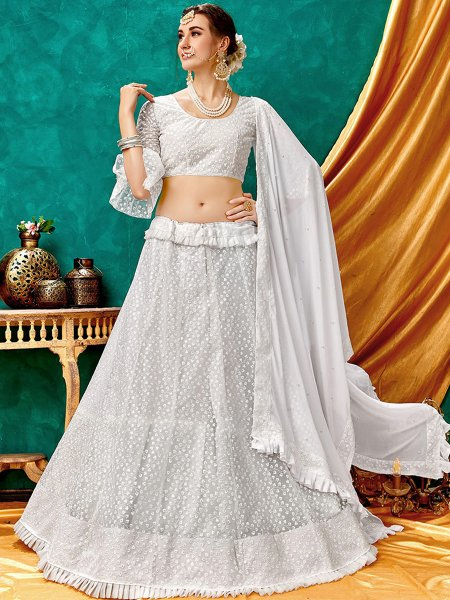 White Net Embroidered Wedding Lehenga Choli