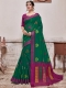 Pine Green Banarasi Cotton Silk Designer Party Saree