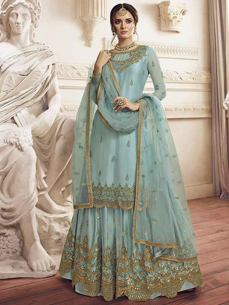 Sky Blue Net Embroidered Party Palazzo Pant Kameez