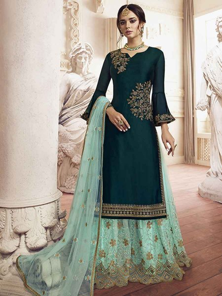 Midnight Green Rangoli Silk Embroidered Party Palazzo Pant Kameez