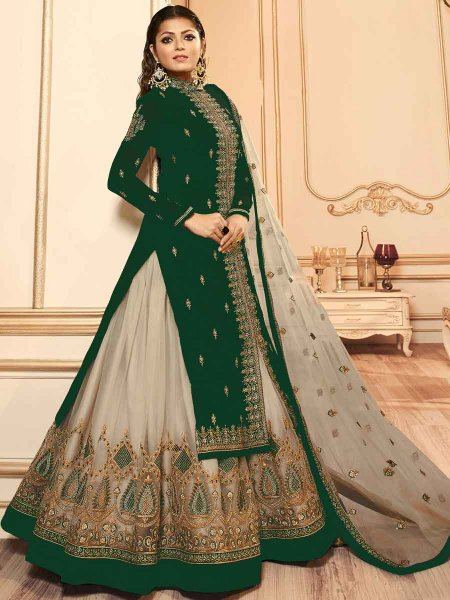 Hunter Green and Tan Brown Net Embroidered Party Lehenga with Suit