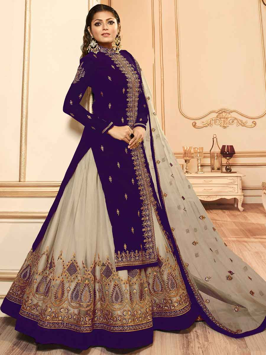 Purple and Tan Brown Net Embroidered Party Lehenga with Suit