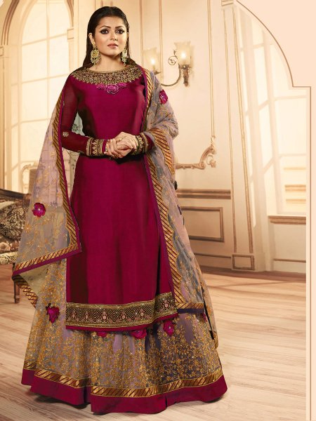 Maroon and Light Pink Net Embroidered Party Lehenga with Suit