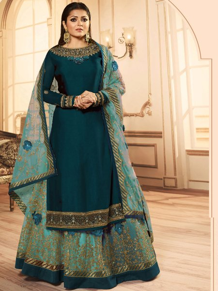 Teal Green and Light Pine Green Faux Georgette Embroidered Party Lehenga with Suit