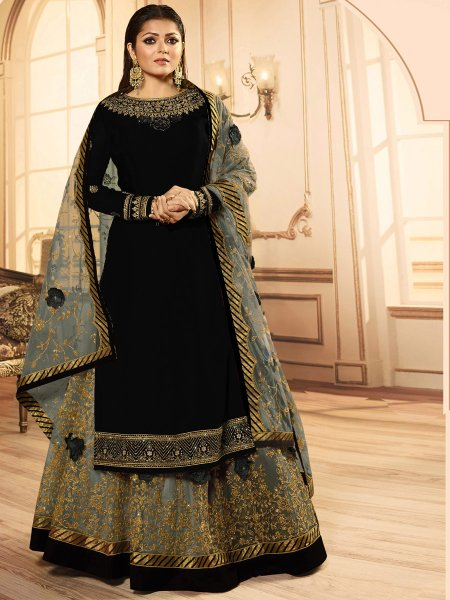 Black and Grey Faux Georgette Embroidered Party Lehenga with Suit