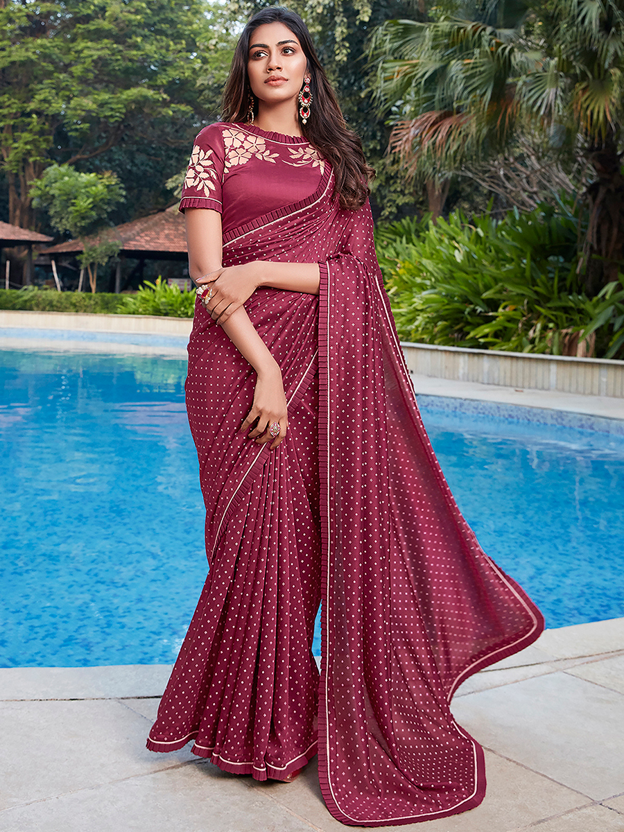 Maroon Cotton Printed Casual Saree