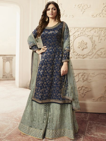 Navy Blue Jacquard Embroidered Festival Palazzo Pant Kameez