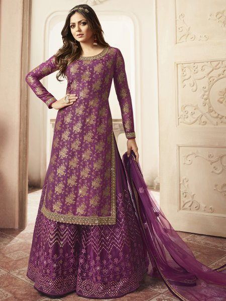 Purple Jacquard Embroidered Festival Palazzo Pant Kameez