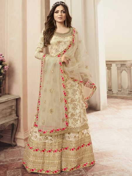 Cream Yellow Jacquard Embroidered Festival Palazzo Pant Kameez