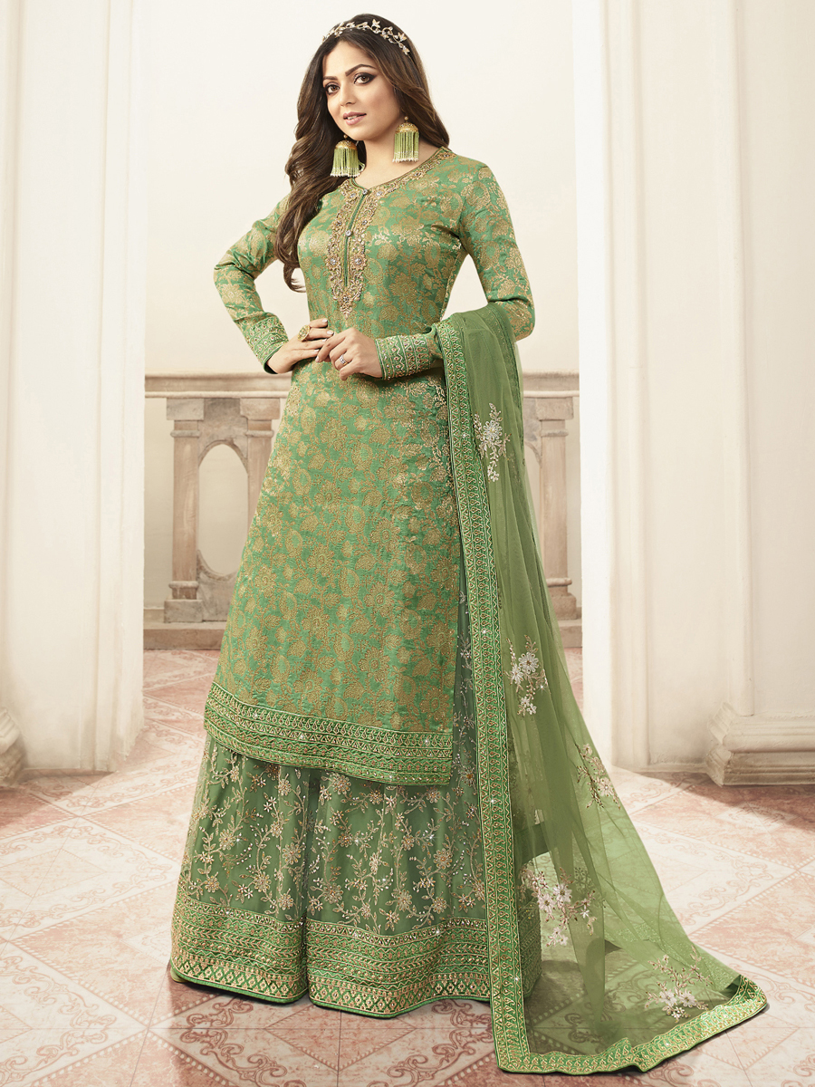 Light Green Jacquard Embroidered Festival Palazzo Pant Kameez
