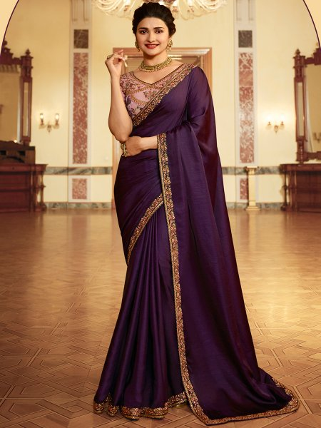 Persian-Indigo Violet Vichitra Silk Embroidered Festival Saree