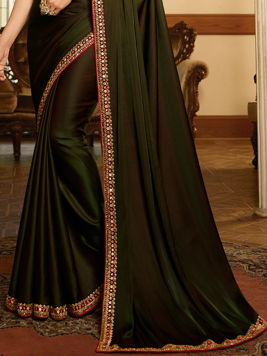 Dark Olive Green Vichitra Silk Embroidered Festival Saree