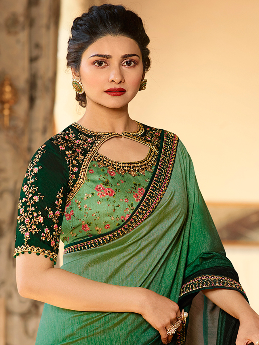 Sea Green and Hunter Green Vichitra Silk Embroidered Festival Saree